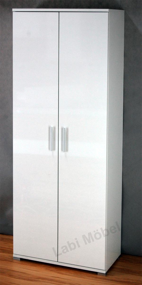 mehrzweckschrank schrank schuhschrank dielenschrank 2 t rig weiss hochglanz e1 ebay. Black Bedroom Furniture Sets. Home Design Ideas