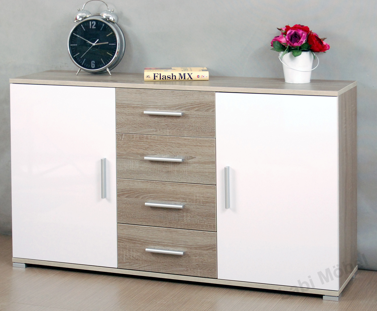 kommode sideboard schrank cosmo sonoma eiche dunkel. Black Bedroom Furniture Sets. Home Design Ideas